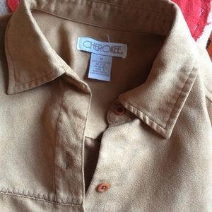 Vintage Tops - CHEROKEE Suede-Like Soft Button Cover